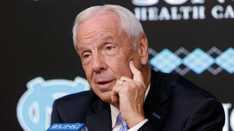 North Carolina coach Roy Williams speaks to members of the media during the NCAA college basketball team's media day in Chapel Hill, N.C., Tuesday, Oct. 17, 2017. (AP Photo/Gerry Broome)