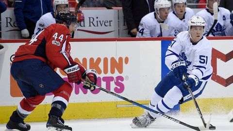 Toronto Maple Leafs defenseman Jake Gardiner (51) battles for the puck against Washington Capitals defenseman Brooks Orpik (44) during the second period of a NHL hockey game, Tuesday, Oct. 17, 2017, in Washington. (AP Photo/Nick Wass)