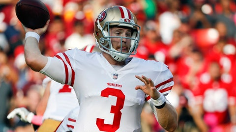 FILE - In this Oct. 15, 2017, file photo, San Francisco 49ers quarterback C.J. Beathard (3) passes the ball during the second half of an NFL football game against the against the San Francisco 49ers in Landover, Md. 49ers rookie quarterback Beathard prepares for his first career start this week against the Dallas Cowboys. (AP Photo/Pablo Martinez Monsivais, File)