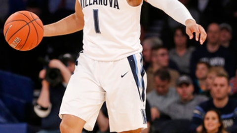 Villanova guard Jalen Brunson (1) gestures during the first half a Big East quarterfinal college basketball game against St. John's at Madison Square Garden, Thursday, March 9, 2017, in New York.  (AP Photo/Kathy Willens)