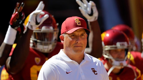 FILE - In this Oct. 8, 2016, file photo, Southern California coach Clay Helton leads his players onto the field before an NCAA college football game against Colorado in Los Angeles. A team with two losses has yet to make the College Football Playoff. At some point it will probably happen, but for now it is safe to assume that a second loss is a big problem. So for No. 11 USC and No. 13 Notre Dame, Saturday's game is sort of a playoff eliminator. (AP Photo/Jae C. Hong, File)