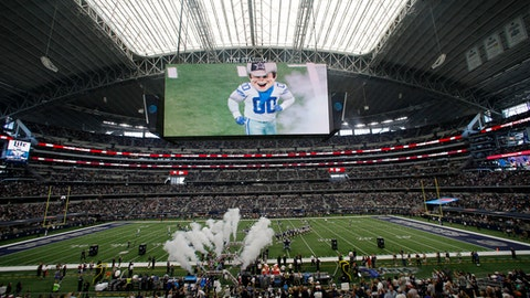 The Dallas Cowboys mascot Rowdy is seen on the large video screen during team introductions before an NFL football game against the Los Angeles Rams at AT&T Stadium Sunday Oct. 1 2017 in Arlington Texas