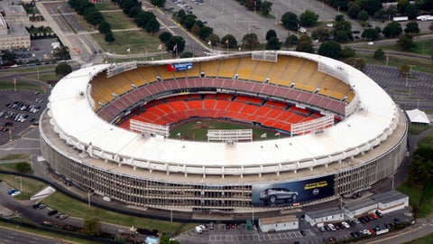 FILE - This Sept. 19, 2017, file photo, shows an aerial view of RFK Stadium in Washington. D.C. United will play their final MLS soccer game at RFK Stadium on Sunday. The United have already been eliminated from the playoffs, but they hope to say goodbye to the historic venue with a victory over the Red Bulls. (AP Photo/Charles Dharapak, File)