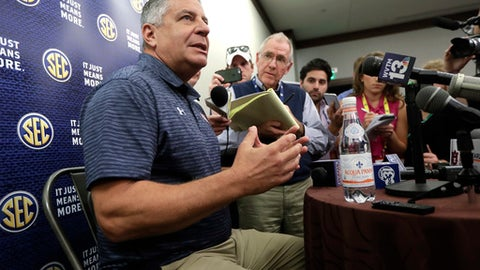 Auburn head coach Bruce Pearl answers questions during the Southeastern Conference men's NCAA college basketball media day Wednesday, Oct. 18, 2017, in Nashville, Tenn. (AP Photo/Mark Humphrey)