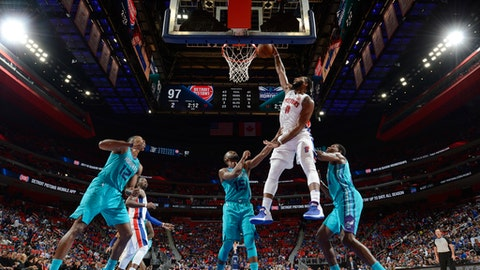 DETROIT, MI - OCTOBER 18: Andre Drummond #0 of the Detroit Pistons dunks against the Charlotte Hornets on October 18, 2017 at Little Caesars Arena in Detroit, Michigan. NOTE TO USER: User expressly acknowledges and agrees that, by downloading and/or using this photograph, User is consenting to the terms and conditions of the Getty Images License Agreement. Mandatory Copyright Notice: Copyright 2017 NBAE (Photo by Chris Schwegler/NBAE via Getty Images)
