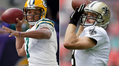 FILE - At left, in an Oct. 15, 2017, file photo, Green Bay Packers quarterback Brett Hundley (7) throws against the Minnesota Vikings in the second half of an NFL football game in Minneapolis. At right, in an Oct. 1, 2017, file photo,  New Orleans Saints quarterback Drew Brees (9) passes the ball as he warms-up before an NFL football game against the Miami Dolphins in London. This was supposed to be one of those marquee NFL games that would be dominated by the quarterbacks. At least Brees will still be playing on Sunday. As for the depleted Packers, they must begin life without their two-time NFL MVP. Third-year pro Brett Hundley will make his first NFL start in place of the injured Aaron Rodgers when Green Bay hosts the rejuvenated Saints. (AP Photo/File)