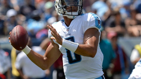 FILE - In this Aug. 27, 2017 file photo, Tennessee Titans quarterback Marcus Mariota (8) passes against the Chicago Bears in an NFL football preseason game in Nashville, Tenn. The Browns play the Titans in Cleveland on Sunday. (AP Photo/Mark Zaleski, File)