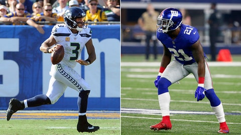 FILE - At left, in an Oct. 8, 2017, file photo, Seattle Seahawks quarterback (3) Russell Wilson runs with the ball during the fourth quarter of an NFL game against the Los Angeles Rams, Los Angeles. At right, in a Sept. 10, 2017, file photo, New York Giants safety Landon Collins (21) lines up to defend against the Dallas Cowboys during an NFL football game, in Arlington, Texas. The Seahawks play at the Giants on Sunday. (AP Photo/File)
