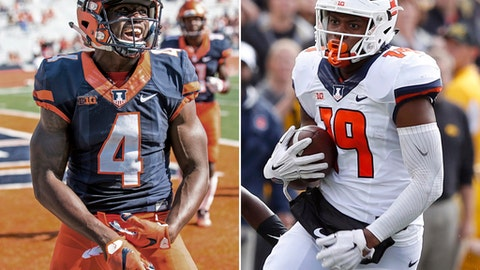 FILE  - At left, in an Oct. 14, 2017, file photo, Illinois wide receiver Ricky Smalling (4) celebrates after his touchdown reception during the fourth quarter of an NCAA college football game against Rutgers, in Champaign, Ill. At right, in an Oct. 7, 2017, file photo, Illinois tight end Louis Dorsey runs after making a reception during the second half of an NCAA college football game against Iowa, in Iowa City, Iowa. Rutgers snapped a 16-game Big Ten losing streak against Illinois over the weekend. Wide receiver Ricky Smalling and tight end Louis Dorsey aren't to blame. In the 35-24 home loss, both players – who are also roommates – scored their first career touchdowns and were rare bright spots for the Illini. (AP Photo/File)