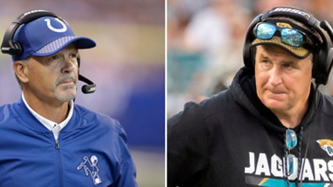 FILE - At left, in a Sept. 24, 2017, file photo, Indianapolis Colts head coach Chuck Pagano watches from the sidelines during the second half of an NFL football game against the Cleveland Browns in Indianapolis. At right, in an Oct. 15, 2017, file photo,  Jacksonville Jaguars head coach Doug Marrone paces the sidelines during a timeout in the second half of an NFL football game against the Los Angeles Rams, in Jacksonville, Fla. The Jaguars play at the Colts on Sunday. The stakes couldn't be higher for the Colts (2-4), who are one game out of the AFC South lead. (AP Photo/File)