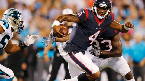 FILE - In this Aug. 9, 2017, file photo, Houston Texans quarterback Deshaun Watson (4) runs against the Carolina Panthers during the first half of an NFL preseason football game in Charlotte, N.C. Though the Texans are just 3-3 entering their bye, the development of Watson has them encouraged that they've finally found the player to end their years of quarterback woes and help this franchise take the next step. (AP Photo/Jason E. Miczek, File)