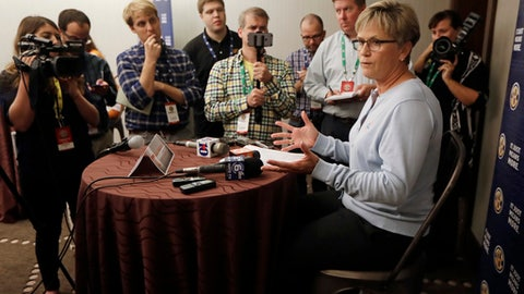 Tennessee head coach Holly Warlick answers questions during the Southeastern Conference women's NCAA college basketball media day Thursday, Oct. 19, 2017, in Nashville, Tenn. (AP Photo/Mark Humphrey)