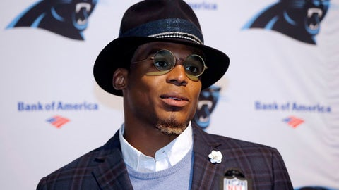 FILE - In this Oct. 1, 2017, file photo, Carolina Panthers quarterback Cam Newton speaks to the media following an NFL football game against the Carolina Panthers, in Foxborough, Mass. Panthers quarterback Cam Newton declined to speak to reporters for the second consecutive day.  Panthers team spokesman Steven Drummond said Thursday, Oct. 19, 2017,  the 2015 NFL Most Valuable Player gave no explanation as to why he wouldn't participate in his regular weekly press conference this week prior to Sunday's game against the Chicago Bears.  (AP Photo/Steven Senne, File)