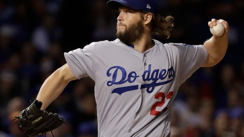 Los Angeles Dodgers starting pitcher Clayton Kershaw (22) throws during the first inning of Game 5 of baseball's National League Championship Series against the Chicago Cubs, Thursday, Oct. 19, 2017, in Chicago. (AP Photo/Matt Slocum)