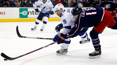 Columbus Blue Jackets forward Matt Calvert, right, tries to take a shot against Tampa Bay Lightning forward Tyler Johnson during the second period of an NHL hockey game in Columbus, Ohio, Thursday, Oct. 19, 2017. (AP Photo/Paul Vernon)