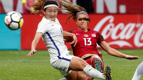 U.S. forward Alex Morgan (13) scores a goal as South Korea midfielder Cho Sohyun defends during the first half of an international friendly soccer match in New Orleans, Thursday, Oct. 19, 2017. (AP Photo/Gerald Herbert)