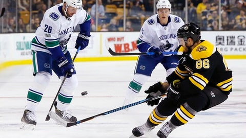 Boston Bruins' Kevan Miller (86) and Vancouver Canucks' Thomas Vanek (26) vie for the puck during the first period of an NHL hockey game in Boston, Thursday, Oct. 19, 2017. The Bruins won 6-3. (AP Photo/Michael Dwyer)