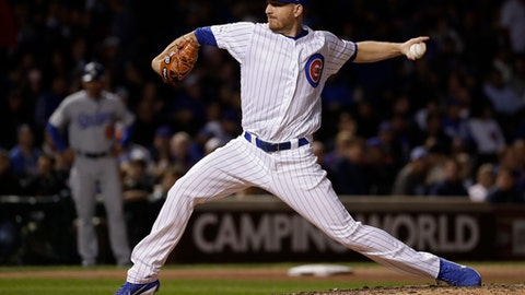 Chicago Cubs relief pitcher Mike Montgomery throws during the eighth inning of Game 5 of baseball's National League Championship Series against the Los Angeles Dodgers, Thursday, Oct. 19, 2017, in Chicago. (AP Photo/Matt Slocum)