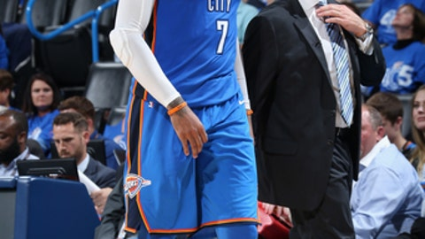 OKLAHOMA CITY, OK- OCTOBER 19:  Carmelo Anthony #7 of the Oklahoma City Thunder smiles during the game against the Oklahoma City Thunder on October 19, 2017 at Chesapeake Energy Arena in Oklahoma City, Oklahoma. NOTE TO USER: User expressly acknowledges and agrees that, by downloading and or using this photograph, User is consenting to the terms and conditions of the Getty Images License Agreement. Mandatory Copyright Notice: Copyright 2017 NBAE (Photo by Layne Murdoch Sr./NBAE via Getty Images)
