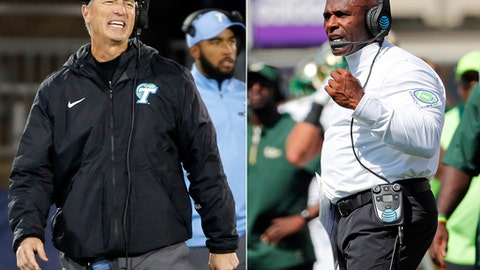 FILE - At left, in a Nov. 26, 2016, file photo, Tulane head coach Willie Fritz reacts to a call during the second half of an NCAA college football game against Connecticut, in East Hartford, Conn. At right, in a Sept. 30, 2017, file photo, South Florida head coach Charlie Strong coaches from the sidelines with during the first half of an NCAA college football game against East Carolina, in Greenville, N.C. South Florida plays at Tulane on Saturday. (AP Photo/File)