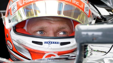 Haas driver Kevin Magnussen, of Denmark, sits in his car during the first practice session for the Formula One U.S. Grand Prix auto race at the Circuit of the Americas, Friday, Oct. 20, 2017, in Austin, Texas. (AP Photo/Tony Gutierrez)