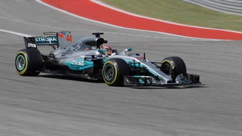 Mercedes driver Lewis Hamilton, of Britain, drives his car during the second practice session for the Formula One U.S. Grand Prix auto race at the Circuit of the Americas, Friday, Oct. 20, 2017, in Austin, Texas. (AP Photo/Eric Gay)