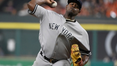 New York Yankees starting pitcher Luis Severino throws during the first inning of Game 6 of baseball's American League Championship Series against the Houston Astros Friday, Oct. 20, 2017, in Houston. (AP Photo/Eric Christian Smith)
