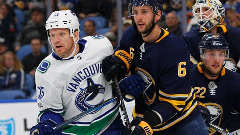 Buffalo Sabres defenseman Marco Scandella (6) and Vancouver Canucks forward Derek Dorsett (15) battle in front of the net during the second period of an NHL hockey game, Friday Oct. 20, 2017, in Buffalo, N.Y. (AP Photo/Jeffrey T. Barnes)