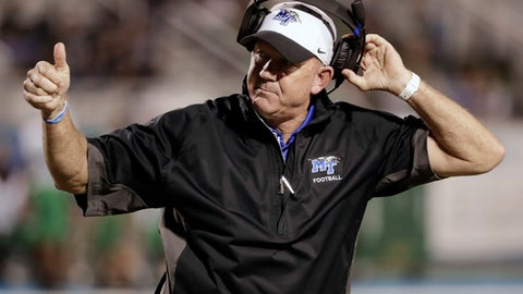 Middle Tennessee head coach Rick Stockstill watches from the sideline in the first half of an NCAA college football game against Marshall, Friday, Oct. 20, 2017, in Murfreesboro, Tenn. (AP Photo/Mark Humphrey)