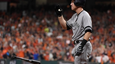 New York Yankees' Todd Frazier tosses his bat after striking out during the fifth inning of Game 6 of baseball's American League Championship Series against the Houston Astros Friday, Oct. 20, 2017, in Houston. (AP Photo/Eric Christian Smith)