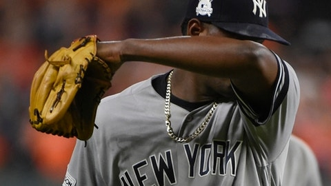 New York Yankees starting pitcher Luis Severino leaves the game during the fifth inning of Game 6 of baseball's American League Championship Series against the Houston Astros Friday, Oct. 20, 2017, in Houston. (AP Photo/Eric Christian Smith)