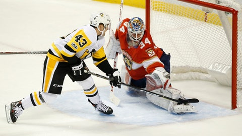 Pittsburgh Penguins left wing Conor Sheary (43) scores against Florida Panthers goalie James Reimer (34) during the third period of an NHL hockey game, Friday, Oct. 20, 2017 in Sunrise, Fla. The Penguins defeated the Panthers 4-3. (AP Photo/Wilfredo Lee)