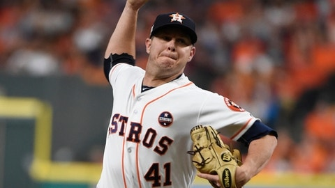 Houston Astros starting pitcher Brad Peacock throws during the eighth inning of Game 6 of baseball's American League Championship Series against the New York Yankees Friday, Oct. 20, 2017, in Houston. (AP Photo/Eric Christian Smith)
