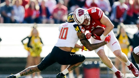 Wisconsin tight end Troy Fumagalli (81) makes a first down reception against Maryland defensive back Josh Woods (10) during the first half of an NCAA college football game Saturday, Oct. 21, 2017, in Madison, Wis. (AP Photo/Andy Manis)