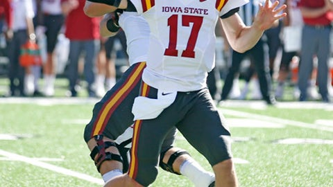 Iowa State's Kyle Kempt (17) passes the ball against Texas Tech during the first half of an NCAA college football game, Saturday, Oct. 21, 2017, at Jones AT&T Stadium in Lubbock, Texas. (Brad Tollefson/Lubbock Avalanche-Journal via AP)