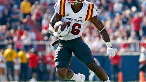 Iowa State's Marchie Murdock (16) runs the ball down the field during the first half of an NCAA college football game against Texas Tech, Saturday, Oct. 21, 2017, at Jones AT&T Stadium in Lubbock, Texas. (Brad Tollefson/Lubbock Avalanche-Journal via AP)