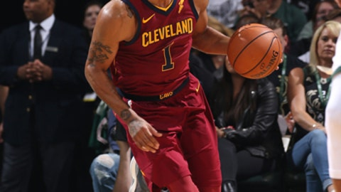 Milwaukee, WI - OCTOBER 20: Derrick Rose #1 of the Cleveland Cavaliers handles the ball against the Milwaukee Bucks on October 20, 2017 at the BMO Harris Bradley Center in Milwaukee, Wisconsin. NOTE TO USER: User expressly acknowledges and agrees that, by downloading and or using this Photograph, user is consenting to the terms and conditions of the Getty Images License Agreement. Mandatory Copyright Notice: Copyright 2017 NBAE (Photo by Gary Dineen/NBAE via Getty Images)