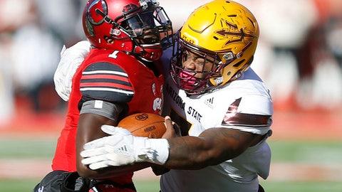 Arizona State linebacker DJ Calhoun, right, sacks Utah quarterback Tyler Huntley, left, in the second half of an NCAA college football game, Saturday, Oct. 21, 2017, in Salt Lake City. (AP Photo/Rick Bowmer)