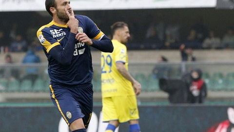 Hellas Verona's Giampaolo Pazzini celebrates after scoring on a penalty during a Serie A soccer match between Chievo Verona and Hellas Verona, at the Bentegodi stadium in Verona, Italy, Sunday, Oct. 22, 2017. (Filippo Venezia/ANSA via AP)