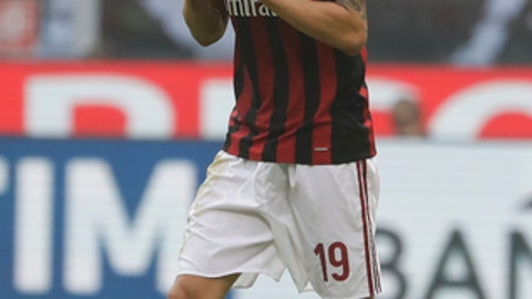 AC Milan's Leonardo Bonucci reacts after receiving a red card from the referee during a Serie A soccer match between AC Milan and Genoa, at the San Siro stadium in Milan, Italy, Sunday, Oct. 22, 2017. (AP Photo/Luca Bruno)