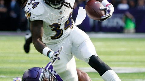 Baltimore Ravens running back Alex Collins (34) is tackled by Minnesota Vikings defensive end Everson Griffen (97) during the first half of an NFL football game, Sunday, Oct. 22, 2017, in Minneapolis. (AP Photo/Bruce Kluckhohn)