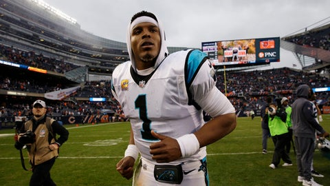 Carolina Panthers quarterback Cam Newton leaves the field after an NFL football game against the Chicago Bears, Sunday, Oct. 22, 2017, in Chicago. Chicago won 17-3. (AP Photo/Nam Y. Huh)