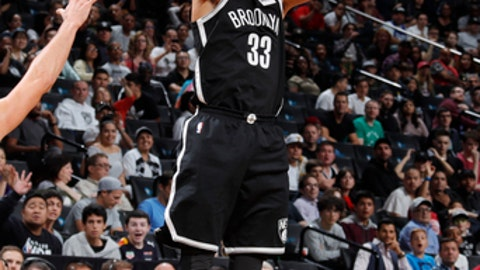 BROOKLYN, NY - OCTOBER 22: Allen Crabbe #33 of the Brooklyn Nets shoots the ball during the game against the Atlanta Hawks on October 22, 2017 at Barclays Center in Brooklyn, New York. NOTE TO USER: User expressly acknowledges and agrees that, by downloading and or using this Photograph, user is consenting to the terms and conditions of the Getty Images License Agreement. Mandatory Copyright Notice: Copyright 2017 NBAE (Photo by Nathaniel S. Butler/NBAE via Getty Images)