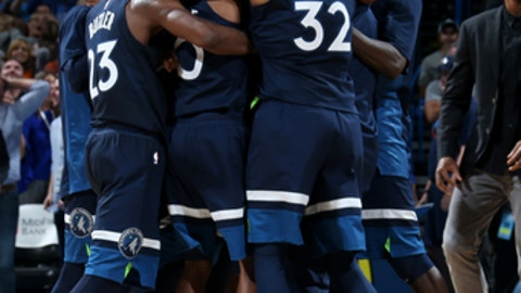 OKLAHOMA CITY, OK - OCTOBER 22: the Minnesota Timberwolves reacts after winning the game against the Oklahoma City Thunder on October 22, 2017 at Chesapeake Energy Arena in Oklahoma City, Oklahoma. NOTE TO USER: User expressly acknowledges and agrees that, by downloading and or using this photograph, User is consenting to the terms and conditions of the Getty Images License Agreement. Mandatory Copyright Notice: Copyright 2017 NBAE (Photo by Layne Murdoch/NBAE via Getty Images)