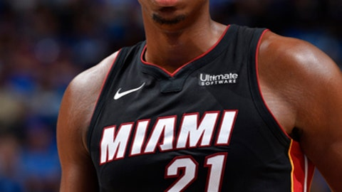 ORLANDO, FL - OCTOBER 18: Hassan Whiteside #21 of the Miami Heat reacts during the game against the Orlando Magic on October 18, 2017 at Amway Center in Orlando, Florida. NOTE TO USER: User expressly acknowledges and agrees that, by downloading and or using this photograph, User is consenting to the terms and conditions of the Getty Images License Agreement. Mandatory Copyright Notice: Copyright 2017 NBAE (Photo by Fernando Medina/NBAE via Getty Images)