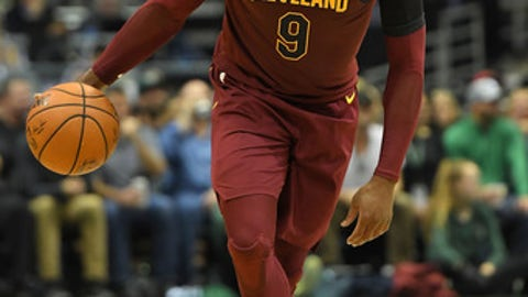 MILWAUKEE, WI - OCTOBER 20:  Dwyane Wade #9 of the Cleveland Cavaliers handles the ball during a game against the Milwaukee Bucks at the Bradley Center on October 20, 2017 in Milwaukee, Wisconsin.  NOTE TO USER: User expressly acknowledges and agrees that, by downloading and or using this photograph, User is consenting to the terms and conditions of the Getty Images License Agreement.  (Photo by Stacy Revere/Getty Images)