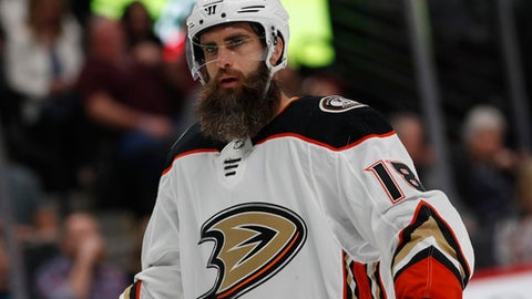 Anaheim Ducks right wing Patrick Eaves (18) in the first period of a hockey game Friday, Oct. 13, 2017, in Denver. (AP Photo/David Zalubowski)