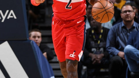 DENVER, CO - OCTOBER 23:  John Wall #2 of the Washington Wizards handles the ball against the Denver Nuggets on October 23, 2017 at the Pepsi Center in Denver, Colorado. NOTE TO USER: User expressly acknowledges and agrees that, by downloading and/or using this photograph, user is consenting to the terms and conditions of the Getty Images License Agreement. Mandatory Copyright Notice: Copyright 2017 NBAE (Photo by Garrett Ellwood/NBAE via Getty Images)