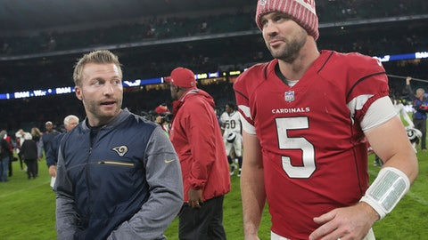 FILE - In this Sunday Oct. 22, 2017, file photo, Arizona Cardinals quarterback Drew Stanton (5) walks off the field with Los Angeles Rams head coach Sean McVay after an NFL football game at Twickenham Stadium in London. Stanton has been here before. Carson Palmer goes down with a serious injury and Stanton steps in as the starter. His statistics, not so great. His win-loss record, not bad. (AP Photo/Tim Ireland, File)