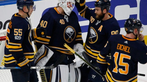 Buffalo Sabres goalie Robin Lehner (40) celebrates a 1-0 victory over the Detroit Red Wings with his teammates at the end of an NHL hockey game, Tuesday Oct. 24, 2017, in Buffalo, N.Y. (AP Photo/Jeffrey T. Barnes)